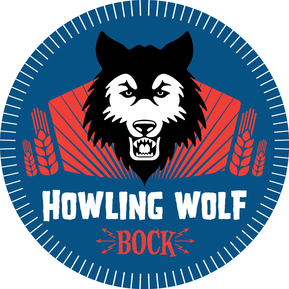Animal army brewery howling wolf bock beer logo