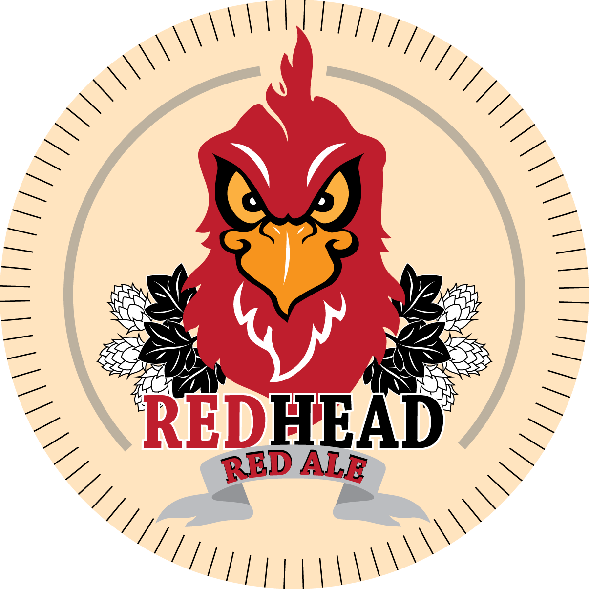 Animal army brewery red head ale logo