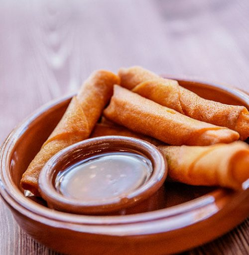 Cheese spring rolls in a bowl